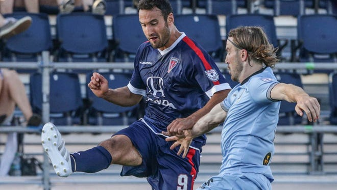 Eamon Zayed (left) scored the Indy Eleven's lone goal Saturday against Miami.