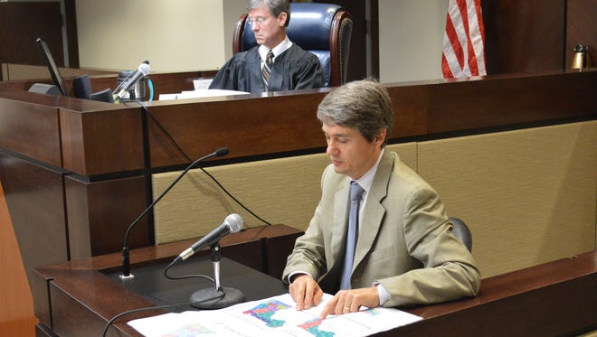Stephen Ansolabehere, a Harvard government professor, testified Wednesday before Circuit Judge Terry Lewis in the congressional redistricting hearing last year.