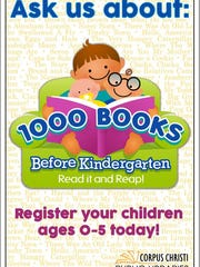 The 1,000 Books Before Kindergarten Club is one of the early childhood literacy initiatives offered by Corpus Christi Public Libraries.