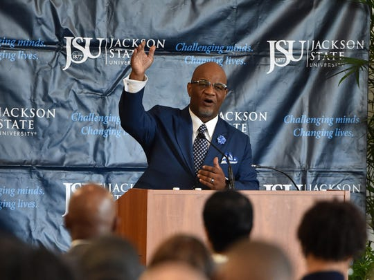 William B. Bynum addresses attendees of the preferred candidate's forum for Jackson State University's incoming 11th president.
