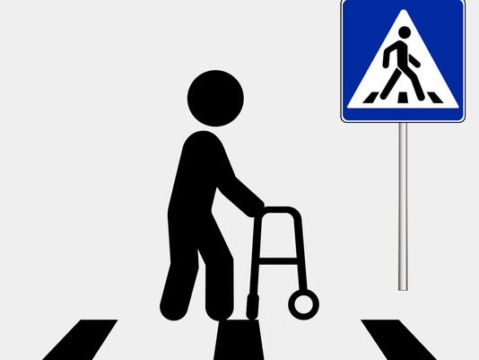 Person with disability. Pedestrian crossing sign, pedestrian crosswalk sign. Vector illustration