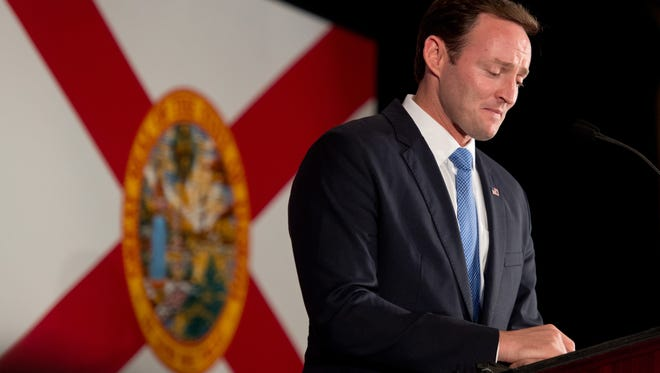 U.S. Rep. Patrick Murphy thanks the crowd of his supporters at his election night party at the Palm Beach Gardens Marriott on Tuesday, Nov. 8, 2016, during his concession speech for his failed bid against incumbent U.S. Sen. Marco Rubio.