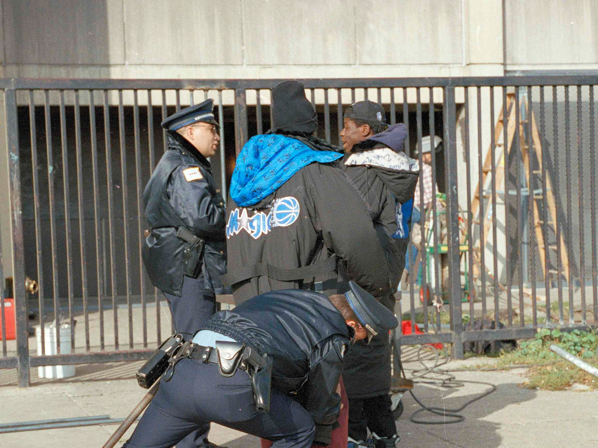 Chicago police officers conduct an emergency inspection