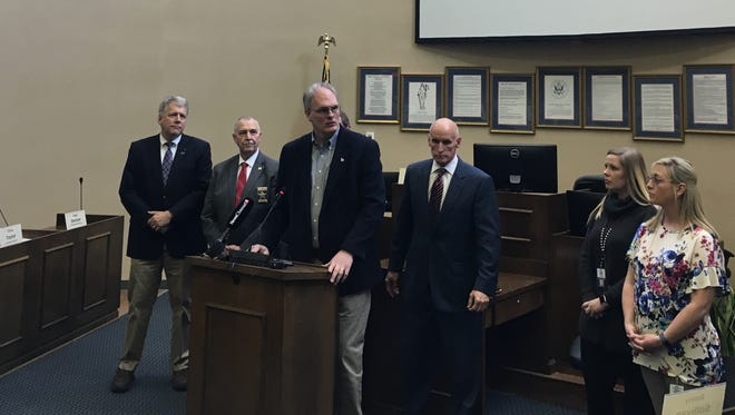 Sumner County Commission Chairman Scott Langford, along with school and county officials including Del Phillips and Anthony Holt, held a press conference Thursday to discuss school safety.