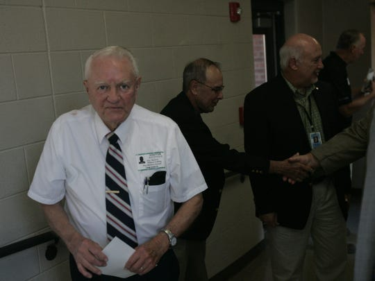 Roy Waldron attends the ribbon cutting Friday morning for the addition of a new wing at the school in La Vergne that bears his name.