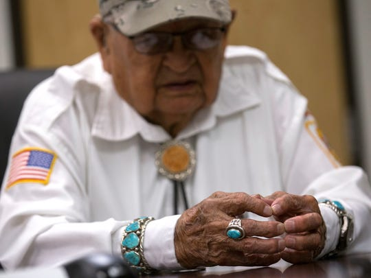 Samuel Sandoval talks about his days as a Navajo Code Talker, Monday at Navajo Transitional Energy Company in Farmington.