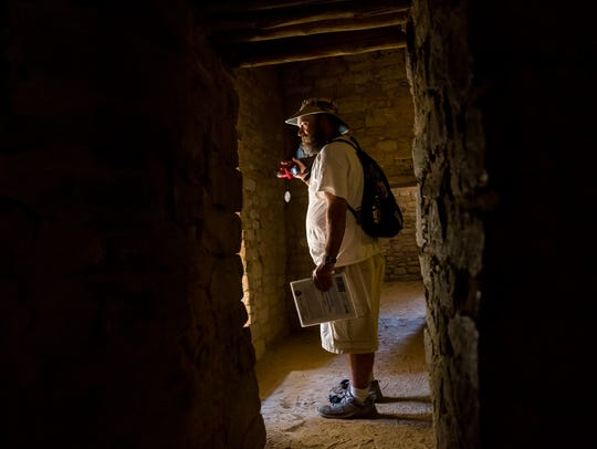 Nathaniel Osburn, of Tucson, Ariz., explores Aztec