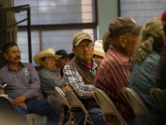 Community members attend a special meeting regarding the Northern Navajo Nation Fair on Tuesday, Sept. 5, 2017 at the Shiprock Chapter House.