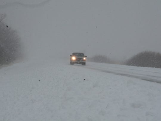 Blizzard-like conditions make driving dangerous Saturday morning on Highway 54 in Outagamie County.