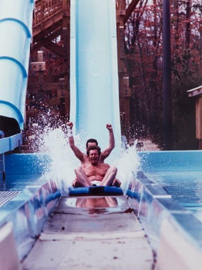 1992: Eddie McDermott of Brooklyn and Larry Desmedt of Manhattan ride in the Adventure Rivers.