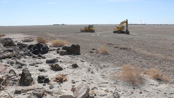 Work on the Red Hill Bay restoration project began