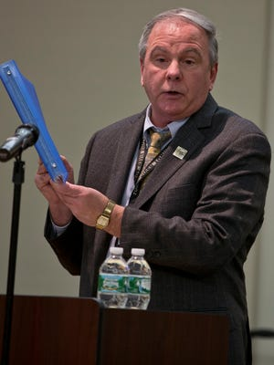 """Mark Mutter, township clerk, informs the public of the locations taken into consideration. Toms River Township holds a """"cease and desist"""" public hearing on a new anti-soliciting ordinance aimed at aggressive real estate solicitors. Toms River, NJ Thursday, January 21, 2016@dhoodhood"""
