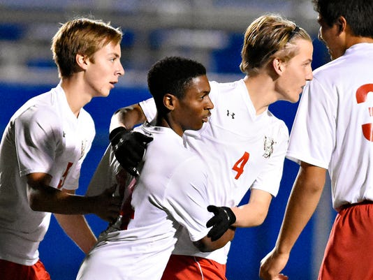 Susquehannock celebrates a second goal over Bermudian Springs during the first half of the District 3 boys soccer game at Papermakers Stadium in Spring Grove, Pa. on Thursday, Oct. 29, 2015. Dawn J. Sagert - dsagert@yorkdispatch.com