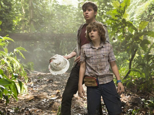 "Nick Robinson and Ty Simpkins in a scene from ""Jurassic"