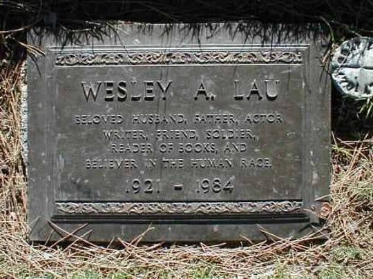 The gravestone of Wesley Lau in Forest Lawn Cemetary in Los Angeles.