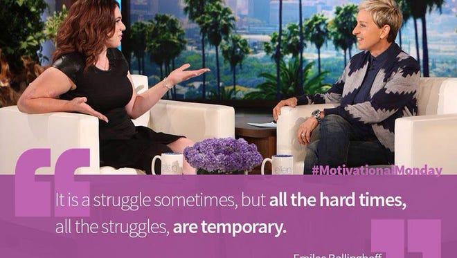 "Emilee Ballinghoff, 21, of Mays Landing, appeared on the Ellen DeGeneres Show on Monday, Sept. 28. Ellen posted this photo on her Twitter account. It featured a quote from Emilee that read: ""It is a struggle sometimes, but all the hard times, all these struggles, are temporary."" Photo/Submitted"