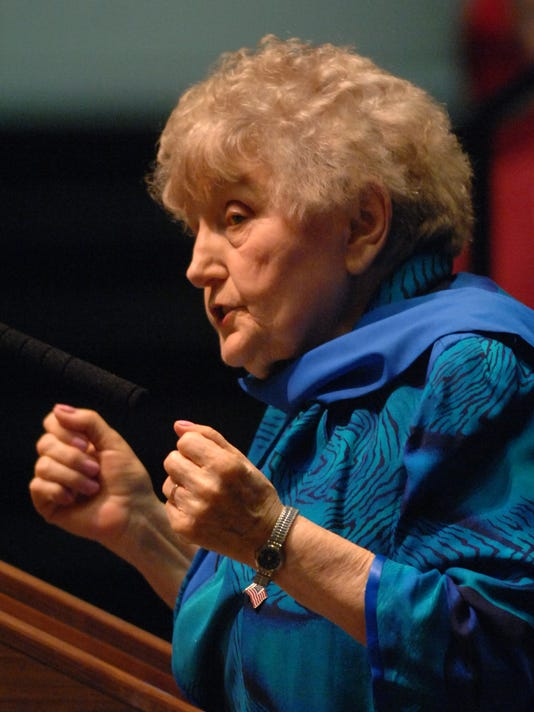 Eva Mozes Kor speaks at Civic Hall Performing Arts Center about the Holocaust