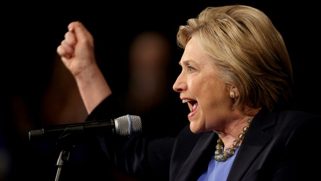 Hillary Clinton addresses supporters March 31, 2016, during a speech at the State University of New York in Purchase, N.Y. New York's Democratic primary is April 19.
