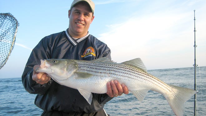 Ed Reilly of Bridgewater with one of 12 bass he caught on board the Hi Flier, Barnegat.