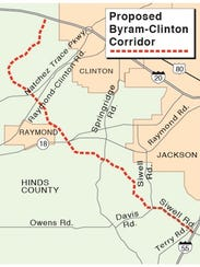 The proposed Byram-Clinton corridor will now be known as the Hinds Parkway. The map isn't an exact replica of the route of the Hinds Parkway.