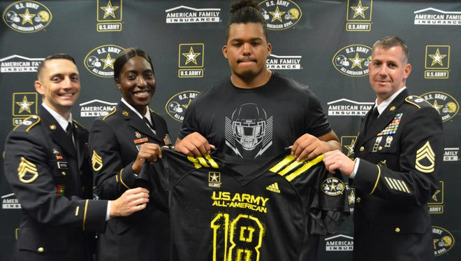Jack Carman of Fairfield received his U.S.Army All-American jersey in a ceremony Sept. 20.