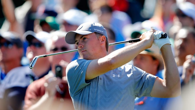 Jordan Spieth of the United States plays his shot from the sixth tee during a practice round prior to the start of the 2016 Masters Tournament at Augusta National Golf Club on April 5, 2016 in Augusta, Georgia.