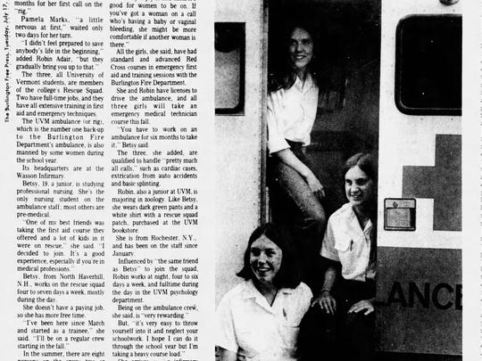 A clip from July 17, 1973, featuring some of UVMs female EMTs.