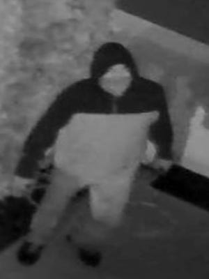 A surveillance photo shows a burglar alleged to be Dennis Niceler of Galloway, Atlantic County.