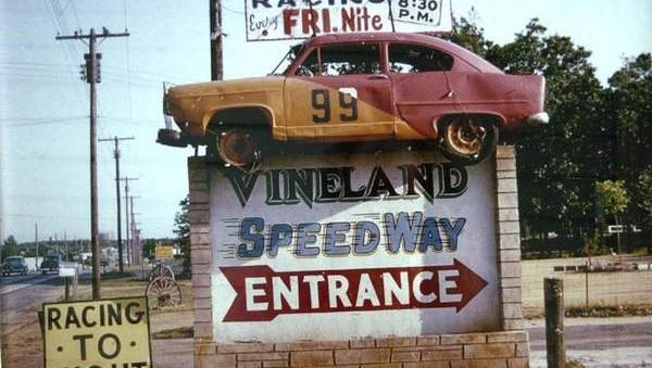 The Vineland Speedway entrance on Delsea Drive in a 1959 photo. The sign was situated in the middle of what is today College Drive. The car on top of the sign is a Henry J.