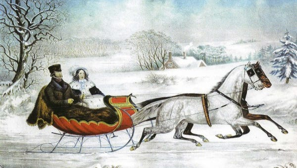 """""""The Road Winter"""" print by Currier and Ives showing Nathaniel Currier and his wife."""