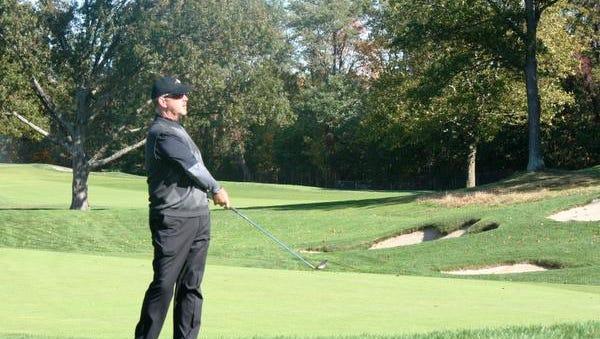 Metropolis head pro Craig Thomas, shown during last year's Treiber Memorial at Wheatley Hills Golf Club, repeated as senior division champion on Friday.