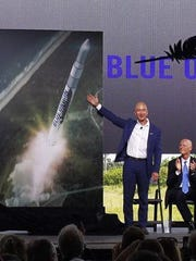 On Sept. 15, 2015, at Cape Canaveral Air Force Station's Launch Complex 36, Blue Origin founder Jeff Bezos unveiled plans to build and launch orbital rockets in Brevard County. Then-Florida Gov. Rick Scott is seated at right.