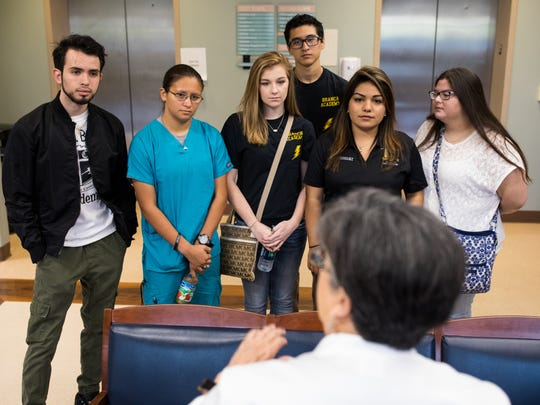 Seniors from the Branch Academy for Career and Technical Education listen to nurse Lenora Sevcik during a tour of Christus Spohn Hospital South on Thursday, May 25, 2017.
