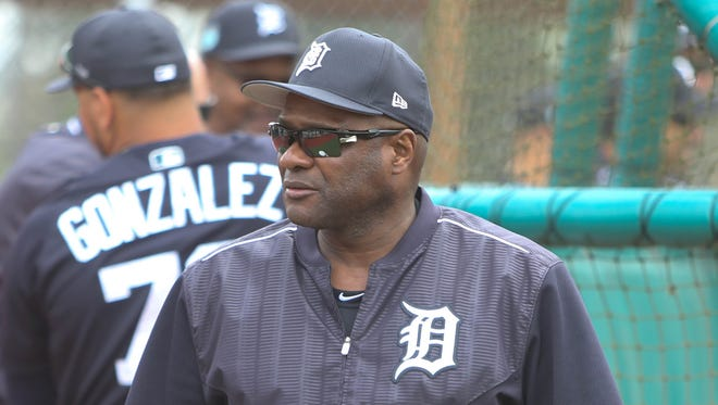 Tigers hitting coach Lloyd McClendon watches hitters in spring training on Feb. 18, 2017 in Lakeland, Fla.
