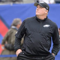 """""""You've got nothing to talk about on sports radio, so let's talk about trades,"""" Eagles coach Chip Kelly said of speculation he might trade up to draft Marcus Mariota."""