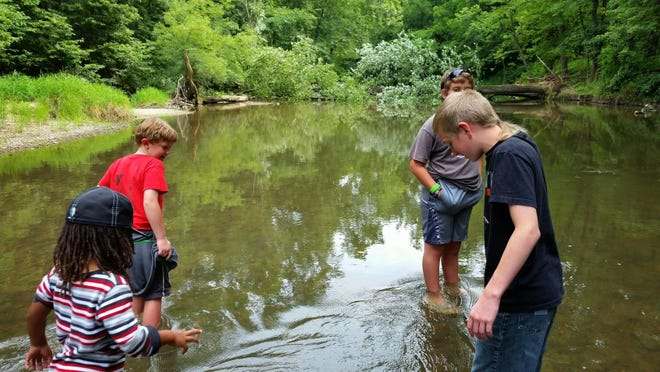 Kids wade in the water during a previous Camp Prairie Creek.