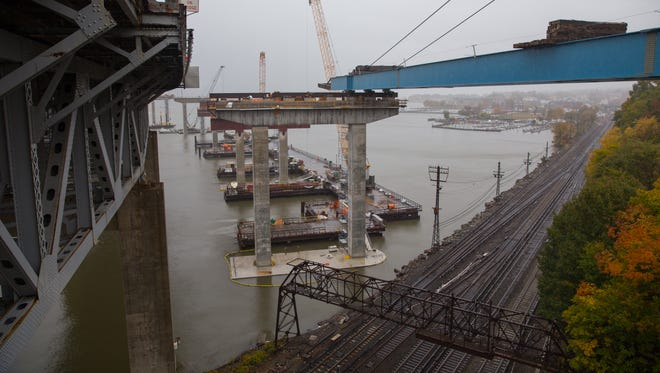 Giant girder units for the new Tappan Zee Bridge were installed this fall over Metro-North Railroad's Hudson Line, as seen here in October. Another installation is set to take place Friday night.