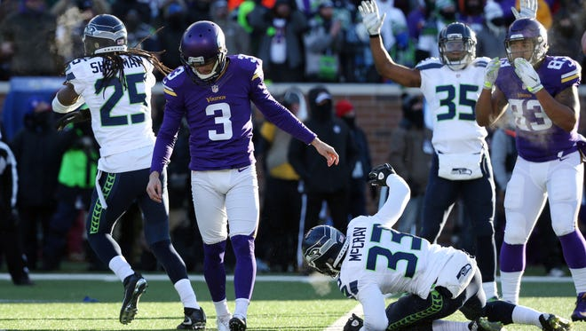 Minnesota Vikings kicker Blair Walsh (3) reacts after missing a potential winning field-goal attempt against the Seahawks in an NFC wild-card playoff game in January 2016. The Seahawks won, 10-9.
