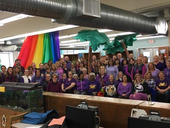 Staff at Malabar Intermediate School wore purple in
