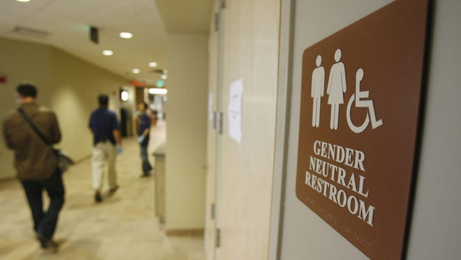 A gender-neutral restroom at the University of Vermont in Burlington in 2007.