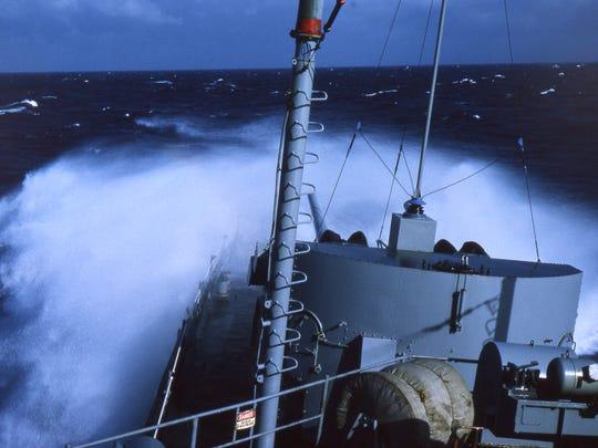 USS Gearing in heavy seas in the Atlantic Ocean.