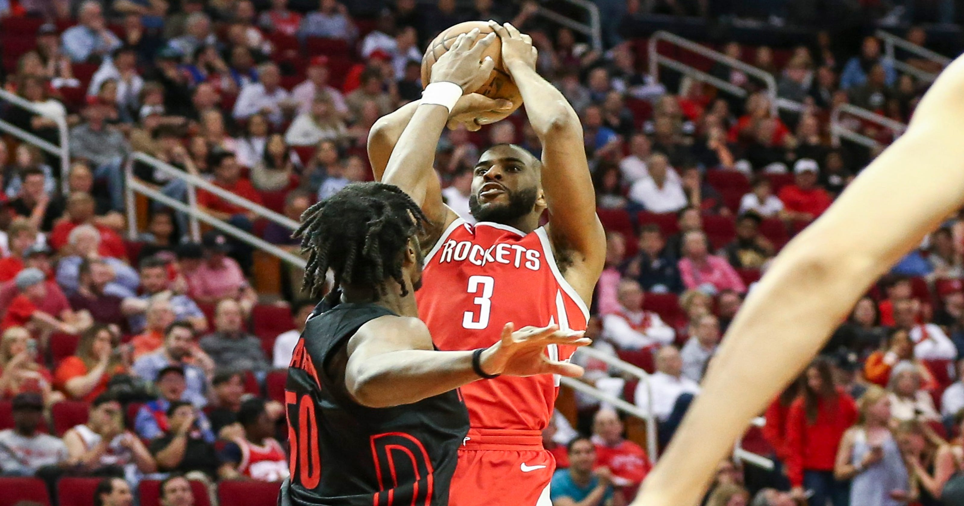 5e27d34ce28 Rockets hold off Blazers rally on Chris Paul s late shot