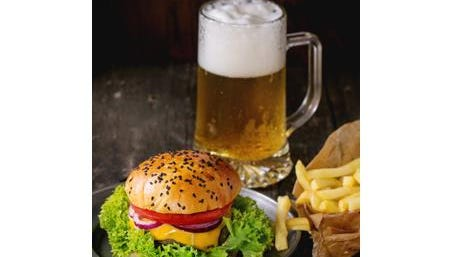 Beer & Burger with fries