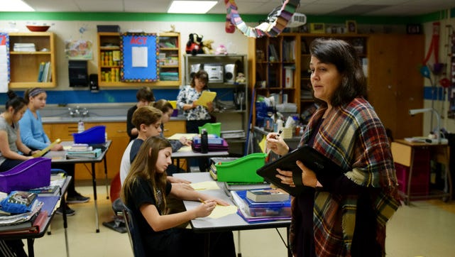 North Middle School science teacher Julie Poetzel uses goal setting and Plan Do Study Act cycles in her classroom to help students track their growth and focus improvement.