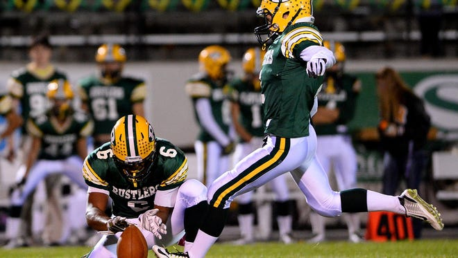 C.M. Russell's Dylan Sandefur was a first-team all-state kicker for the Rustlers and plans to continue his studies and football at Montana Tech.