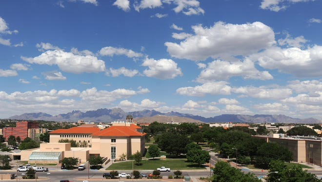 Aerial view of the NMSU campus including Skeen Hall and Gerald Thomas Hall.