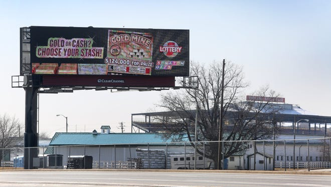 The City-County Council has been trying to fast-track a proposal to allow digital billboards in Marion County. This digital billboard along Fall Creek Parkway is on the Indiana State Fairgrounds property, shown on Feb. 10, 2015. It's one of the only digital billboards in the city, because the state doesn't have to follow the city sign ordinance.
