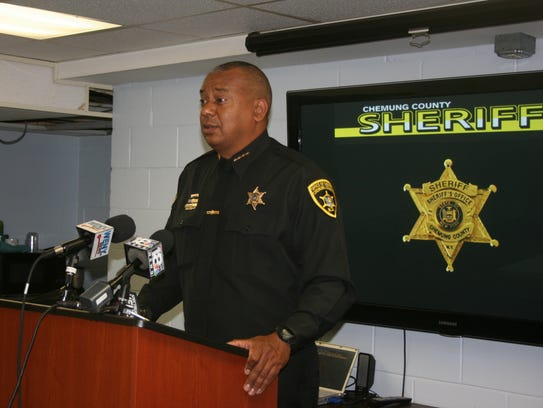 Chemung County Sheriff Christopher Moss speaks at a