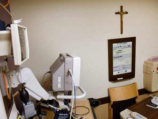 A crucifix in patient room Thursday, Jan. 14 at the