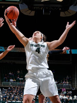 Michigan State's Jasmine Hines opened her season by registering a double-double in Sunday's 78-40 victory over Western Michigan.